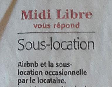 MIDI LIBRE – 22/06/18 – AIR BNB ET LA SOUS LOCATION